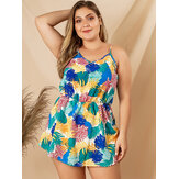 Plus Size Holiday Beach Leaf Print Back Bow Sling Jumpsuit