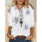 Women Vintage Floral Printed Stand Collar Button Casual Long Sleeve Blouse