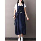 Women Sleeveless Strappy Casual Loose Pure Color Dress
