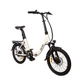 CMSBIKE CMSTD-20ZG 7.8Ah 250W White 20 Inches Folding Electric Bicycle 32km/h 30-45km Mileage Double Dics Brake LCD Displayer Electric Bike