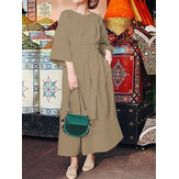 Women Solid Color Round Neck 3/4 Sleeve Pleated Casual Belted Maxi Dresses