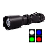 SL-A101 350LM LED + RGB 4 colores Linterna con zoom Linterna LED recargable por USB Impermeable Luz de campamento
