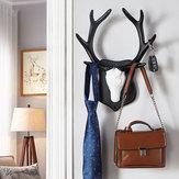 2clasesvendimiaDeerCornamentaGancho Rack Pared decorativa para el hogar Sombrero Escudo de tela para colgar Percha