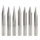 Drillpro 6mm Shank 15/20/25/30 Degrees V Shape End Mill Tip 0.3-1.0mm 2 Flute CNC Carving Bit Wood PVC Acrylic Engraving Bit