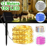 12M 100LED Solar String Light 8 Modi Waterdichte koperdraad Fairy Lamp Outdoor Garden Party Decor