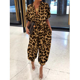 Frauen Casual Pocket Leopard Print Kurzarm Jumpsuit