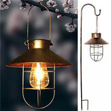 Black/Bronze Retro Solar Powered  Lantern Outdoor Hanging Solar Light Vintage Lamp With Warm