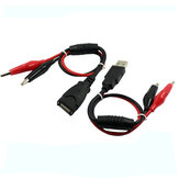USB Alligator Clips Crocodile Fio Macho / fêmea para USB Tester Detector DC Voltage Meter Capacidade do Amperímetro Monitor do Medidor Monitor