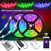 SOLMORE 2*5M LED Strips WiFi Wireless Smart Phone APP Control 300 LED Strip Light Waterproof IP65 Flexible RGB Stripes with 24 Buttons Christmas Decorations Clearance Christmas Lights