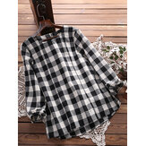 Casual Loose Plaid Long Sleeve Women Blouse