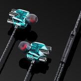 BakeeyA6有線ヘッドフォンデュアルダイナミック4スピーカーインイヤーヘッドセットノイズリダクションHDマイク付き有線制御イヤホンを呼び出す