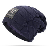 Mens Plus Velvet Thick Warm Knitted Hat Casual Letter Solid Slouchy Beanie Hat
