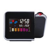 Loskii DC-003 Digital Wireless Hygrometer Therometer LED Projection Weather Station Alarm Clock