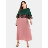 Plus Size Women Hit Color Lace Patchwork Casual Dress