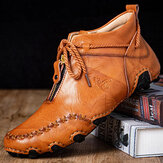 Men Front Zipper Non Slip Soft Handmade Stitching Lace Up Driving Ankle Boots