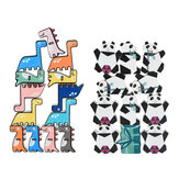 11/13 Pcs Creative Panda Dinosaur Wooden Stacking Game Building Blocks Early Educational Toy for Kids Gift
