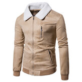 Imitated Suede Lapel Fleece Collar Zipper Pockets Men Jacket