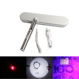 XANES®A9133-in-1ミニ医療ポケット懐中電灯赤色レーザーポインター教師インジケーター猫のおもちゃUV検出ランプUSB充電式LEDペンライト