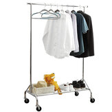 1pc Garment Rack with a Net Shelf and wheels Mobile Folding Convenient Storage Clothes Hanger Household Organizer Supplies