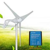 100W 12V 24V 3 Jiletler Rüzgar Türbini Jeneratörü Beyaz + Rüzgar Kontrol Cihazı