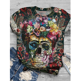 Women Colorful Skeleton Floral Print Designer T-Shirts