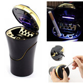 Car Cigarette Cylinder Ashtray Garbage Box with Blue LED Light