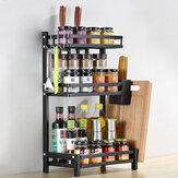 رف توابل للمطبخ من 2/3 طبقات غير القابل للصدأ رف تخزين لأدوات المطبخ من الفولاذ وحامل زجاجات لتخزين مساحة سطح المكتب والمطبخ