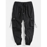 Mens Solid Color Bungee Cords Pockets Designer Casual Jogger Pants