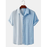 Mens 100% Cotton Patchwork Striped Solid Color Pocket Shirts