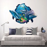 Miico Creative 3D Sea Fish Dolphin Removable Home Room Decoración decorativa de la pared Pegatina