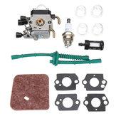 المكربن carb kit ل stihl FS38 FS45 FS46 FS55 KM55 FS85 فلتر الوقود فلتر الهواء طوقا