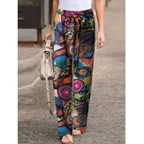 Ethnic Floral Print Drawstring Wasit Side Pocket Ankle Length Pants