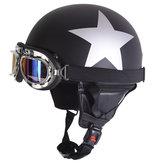 Capacete retro da segurança do capacete da motocicleta do vintage meio com óculos de sol UV da viseira de Sun
