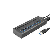 USB 3.0 Hub Super Speed Splitter,10 Port USB Data Hub with Power Adapter,Individual On/Off Switches and Lights for Laptop, PC, Computer, Mobile HDD, Flash Dr (10 Ports Black