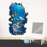 3d Seafloor Oceano Adesivos de Parede Home Decor Mural Art Removível Oceano Mundo Decoração Adesivo