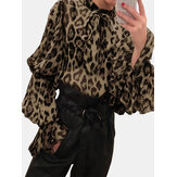 Leopard Print Chiffon Bow-knot Tie Shrink Sleeve Blouse