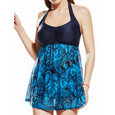 Plus Size Cover Belly Slimming Halter Backless Swimdress
