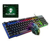 104 مفاتيح لوحة مفاتيح سلكية للألعاب 2400 ديسيبل متوحد الخواص مجموعة ماوس USB RGB مجموعة لوحات مفاتيح بإضاءة خلفية مع لوحة ماوس