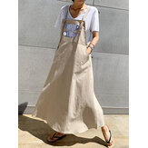 Fish Print Adjustable Strap Sleeveless Casual Loose A-line Maxi Dress with Pockets