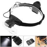 2 LED Lights Headband Magnifier 1X 1.5X 2X 2.5X 3X 3.5X 4X 4.5X 5X 5.5X 6X Magnifying Glass Adjustable Magnifier for Soldering