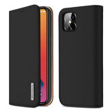 DUX DUCIS Magnetic Flip Wallet Card Slot Genuine Leather + TPU Shockproof Full Cover Protective Case with Free Key Chain for iPhone 12 Mini / 12 Pro / 12 / 12 Pro Max