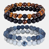2Pcs/Set Natural Stone Matching Couples Beaded Bracelets Agate Volcanic Stone Men Women Jewelry Gift