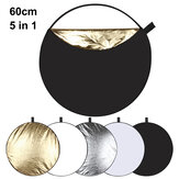 PULUZ PU5111 60cm 5 in 1 Folding Photo Studio Reflector Board Silver Translucent Gold White Black