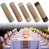 5 Renkler Jüt Rustik Çuval Dantel Masa Koşucu Düğün Parti Ziyafet Süslemeleri
