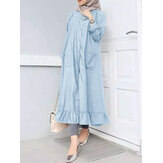 Women Solid Ruffle Hem Kaftan Shirt Maxi Dresses With Pocket