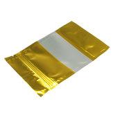 100 pcs Emas Aluminium Foil Berdiri Tas Zip Lock Mylar Kantong Dengan Jendela Food Grade