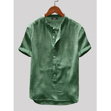 Men Cotton Linen Short Sleeve Solid Color Leisure Henley Shirts