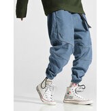 Mens Solid Color Drawstring Cargo Jogger Pants With Pocket
