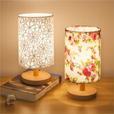 AC220V Fabric Desk Table Lamp Beside Night Light Flower Pattern Cylinder Wooden Base + 3W E27 Bulb