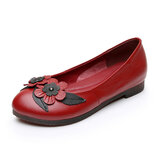 Women Flowers Decor Comfy Sole Soft Leather Loafers